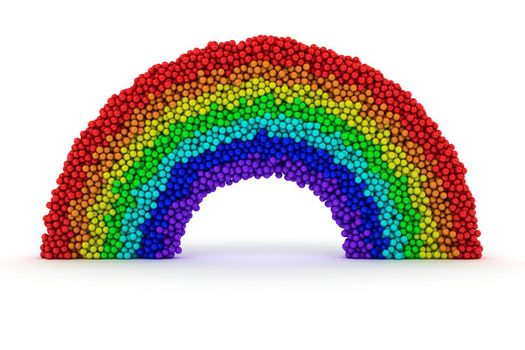 Rainbow made from many bubbles on white