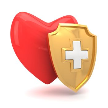 Red heart protected by medical shield
