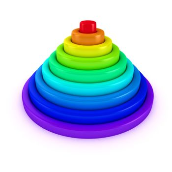 Toy pyramid with rings of rainbow colors