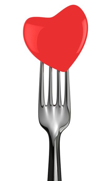 Fork with red heart isolated on the white background