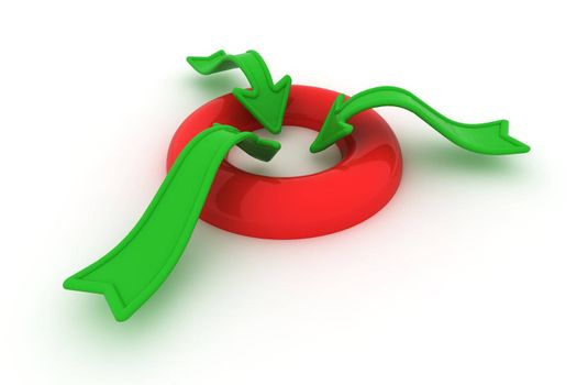 Green arrows inside red ring isolated on the white background