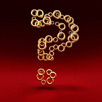 Question mark made of golden rings on the red background