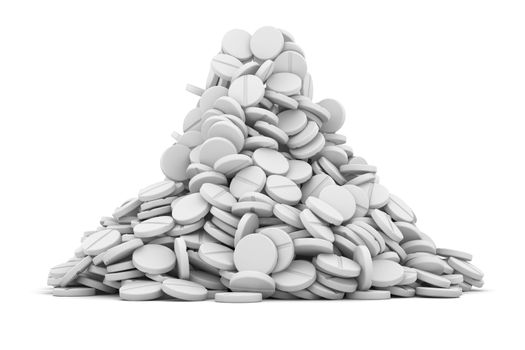 Heap of white tablets on the white background