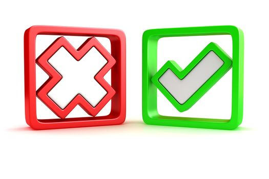 Approved and rejected marks in check boxes