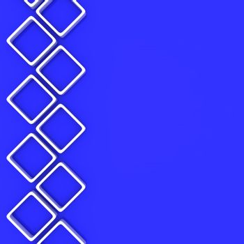White square ornament on the blue background