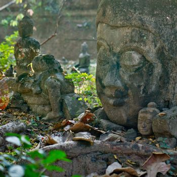 Stone head of Buddha in the ancient temple in Chiangmai, Thailand