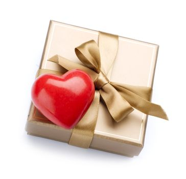 Valentine Gift and Heart over white