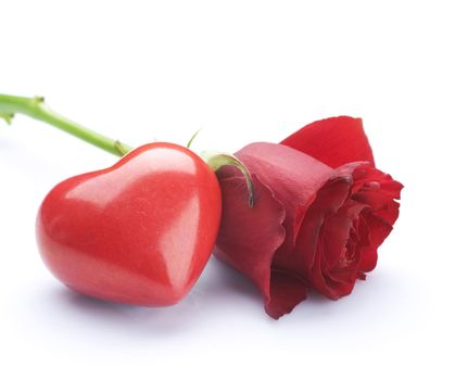 Valentine concept. Red Rose and Heart over white
