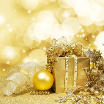 Christmas Decoration over Glittering Golden Background