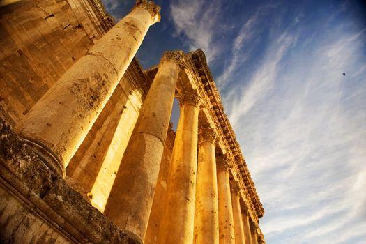 Lebanon. Old Ruins. Roman Columns in Baalbeck