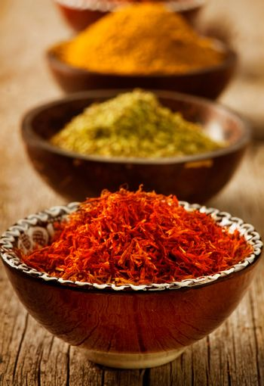 Spices Saffron, turmeric, curry