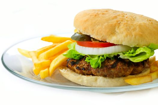 Hamburger with fries on a white background