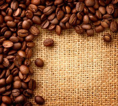 Coffee Border design. Beans over Burlap Background