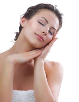 Beautiful Young Woman touching her Face. Skincare