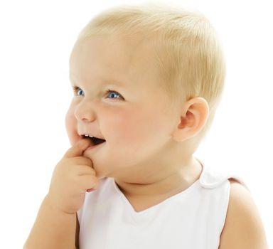Cute Baby Girl Touching Her Teeth