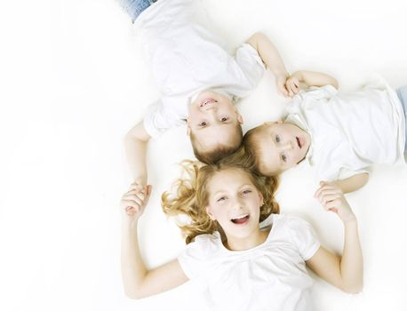 Kids. Happy Smiling Family over white