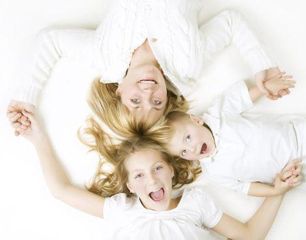 Family. Mother With Kids Over White