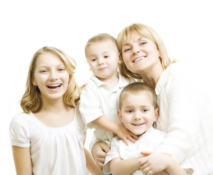 Mother With Kids. Happy Smiling Family Over White