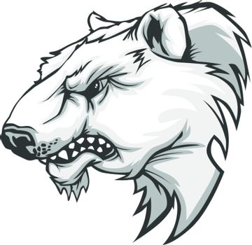 Polar Bear Mascot Head Vector Cartoon