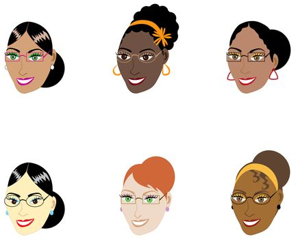 Vector Illustration of six different smart women with glasses and hair up in a bun.