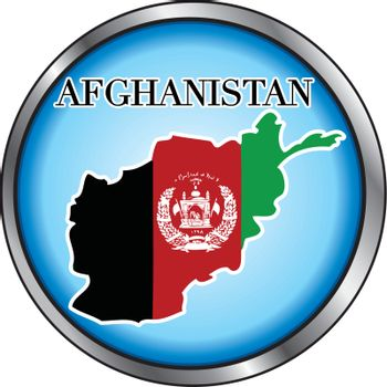 Vector Illustration for Afghanistan, Round Button.