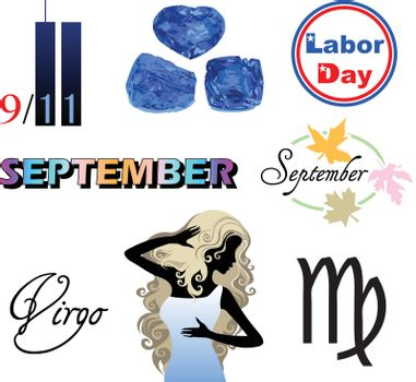 Vector Illustration of eight September Icons including birthstones, holidays and zodiac symbols.