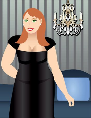 Vector Illustration of a Heavy Set Woman in Formal dress.