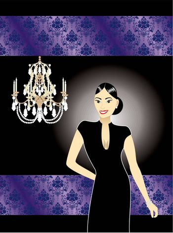 Vector illustration of  an Asian woman in a black formal dress.
