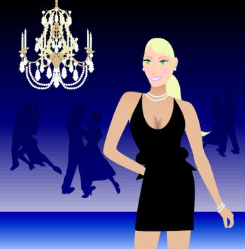 Vector illustration of a blond woman in a black formal dress.