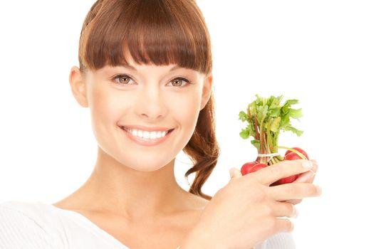 beautiful housewife with radish