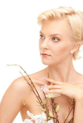 lovely woman with twig