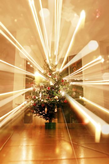 bright christmas tree with light zoom effect