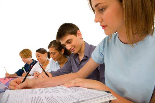teenagers in classroom