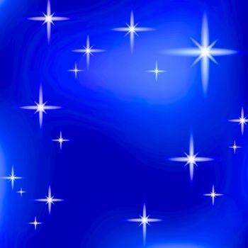 bright stars over dark blue sky