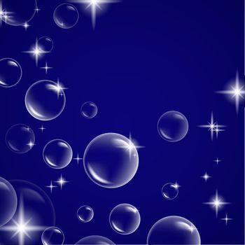 shiny bubbles over blue background, copyspace