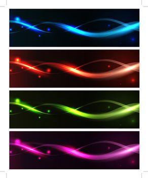 bright neon banner set