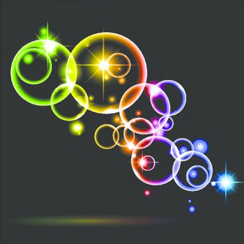 bright abstract background with multicolored round shapes
