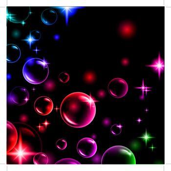 shiny multicolored bubbles with stars