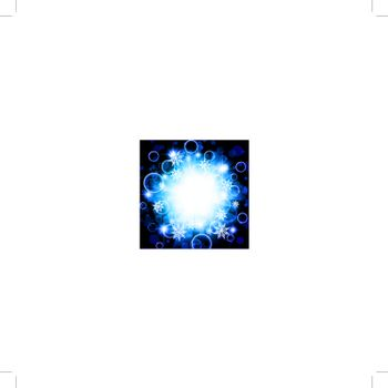 bright abstract explosion with stars and snowflakes over blue