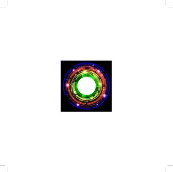 abstract bright multicolored round frame