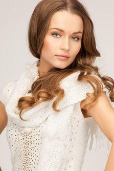 beautiful woman in white comforter