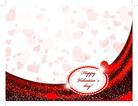 Valentine frame with red curtain and hearts, copyspace