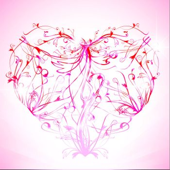 pink heart with floral elements