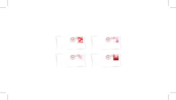 Valentine`s day envelops collection over white