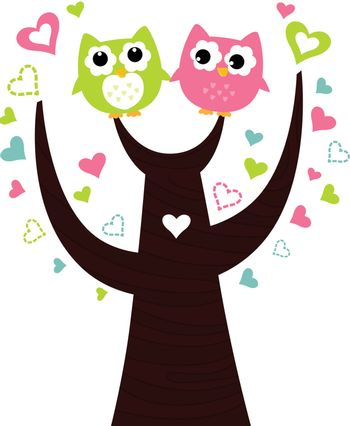 Two lovely owl couple. Vector Illustration