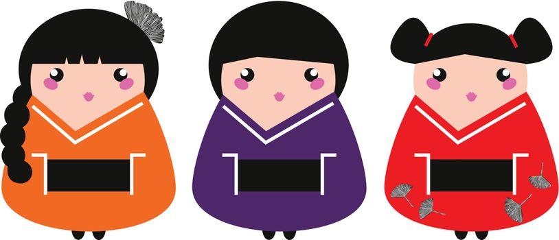 Colorful Geisha collection. Vector illustration