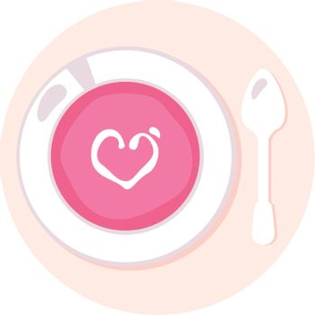 Pink soup with heart. Vector Illustration