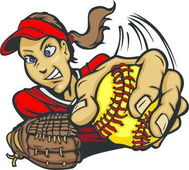 Fast Pitch Softball Pitcher Cartoon Vector Illustration