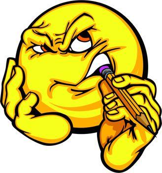 Thinking creativity cartoon face emoticon