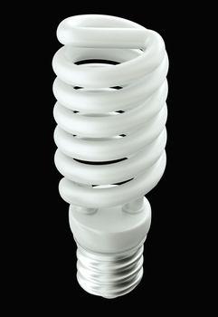 Fluorescent Energy efficient light bulb isolated